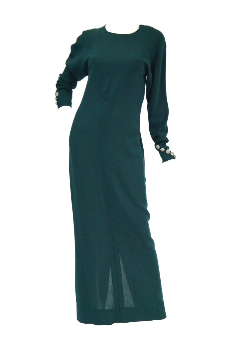 1980s Galanos Backless Green Dress For Sale 2