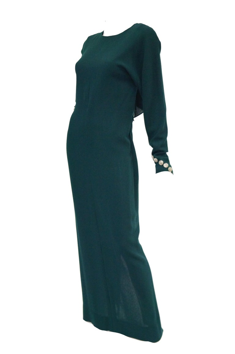 Black 1980s Galanos Backless Green Dress For Sale