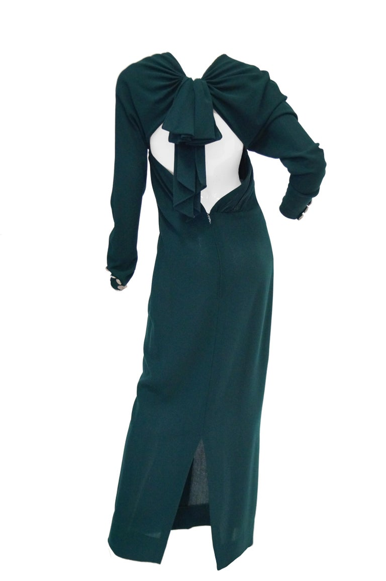 1980s Galanos Backless Green Dress In Excellent Condition For Sale In Houston, TX