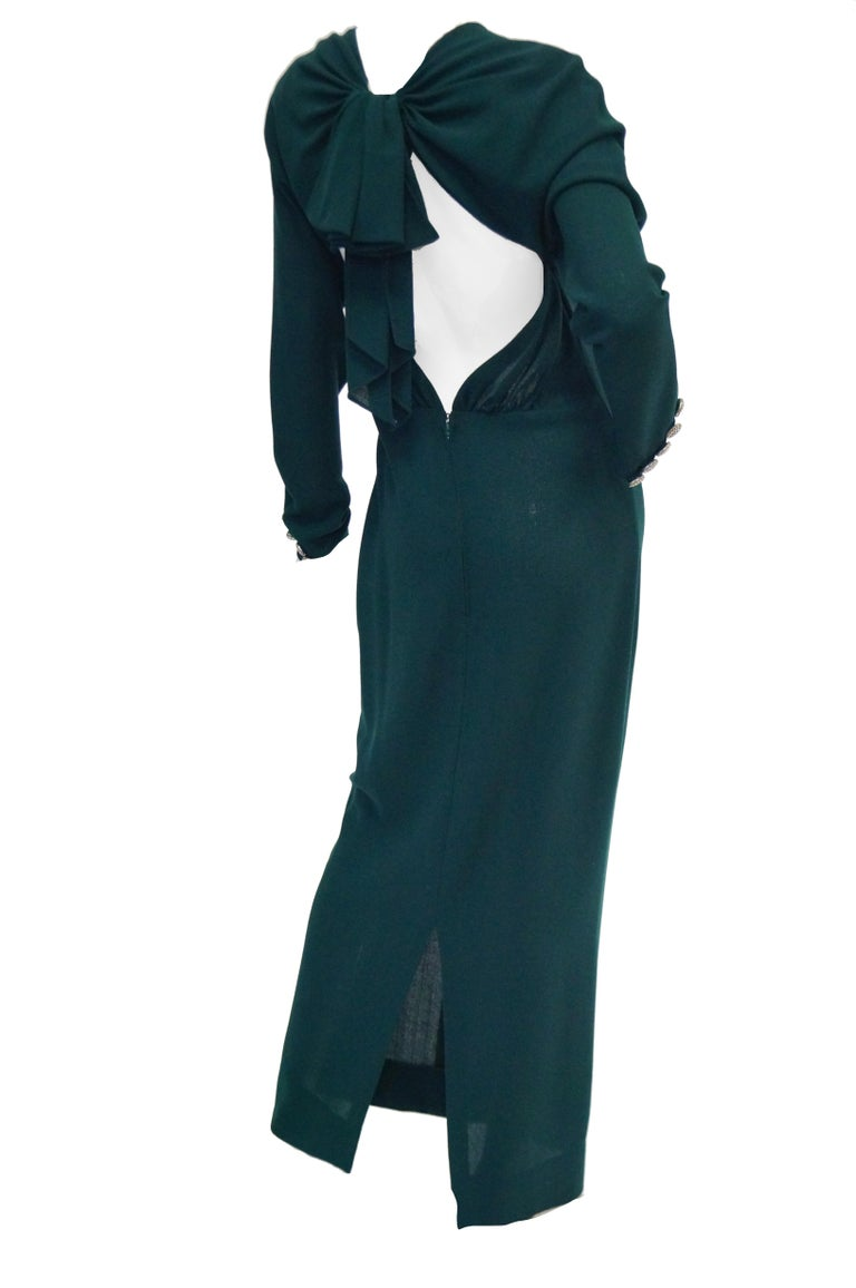1980s Galanos Backless Green Dress For Sale 3