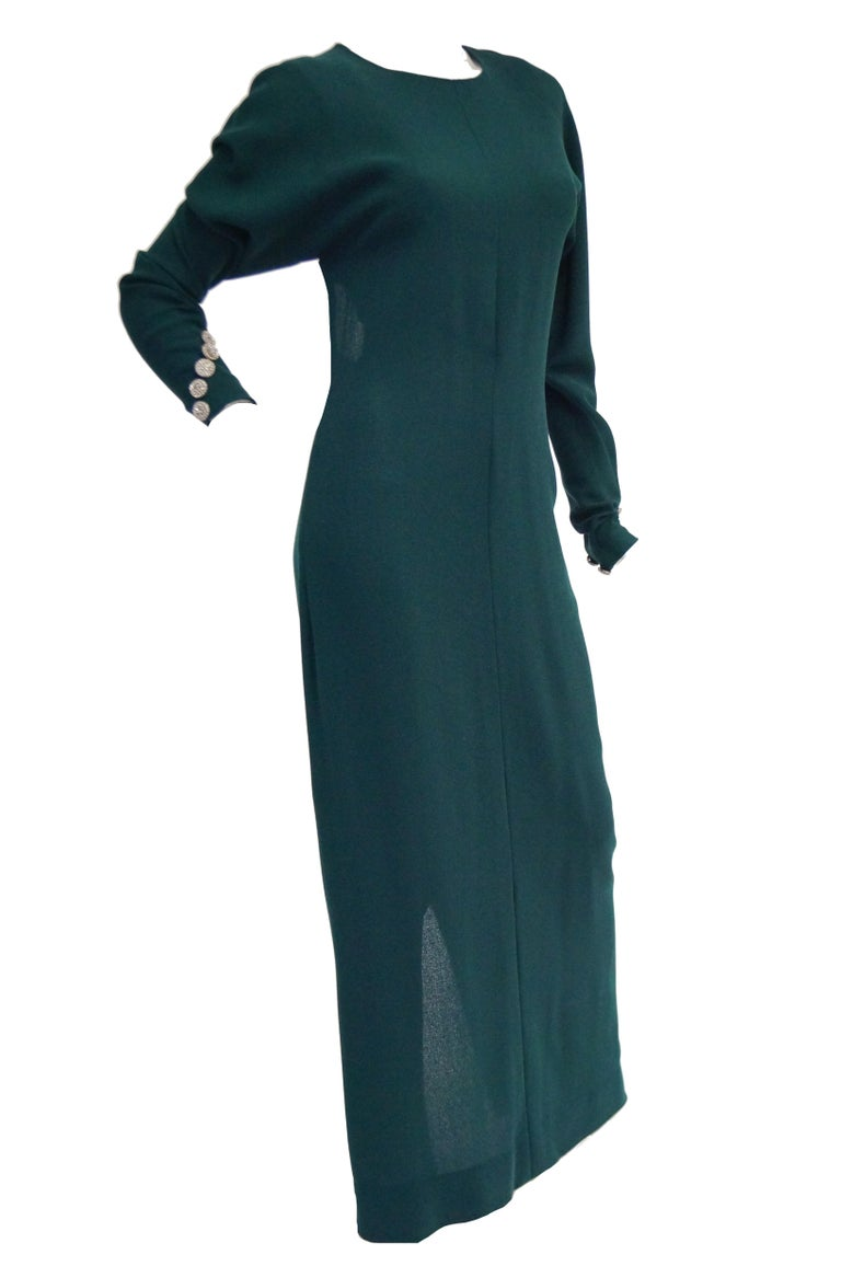 1980s Galanos Backless Green Dress For Sale 4