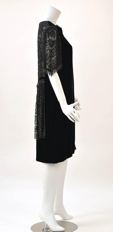 1980s Custom Black Sheer Back Beaded Velvet Flapper Dress For Sale 1