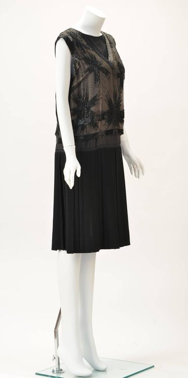 Striking 1960s Malcolm Starr Hand Sewn Beaded Black Crepe Evening Dress 2