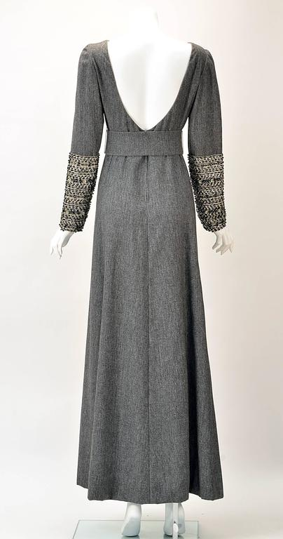 Gray Malcolm Starr Grey Formal Maxi Dress with Embellished Sleeves, 1960s  For Sale
