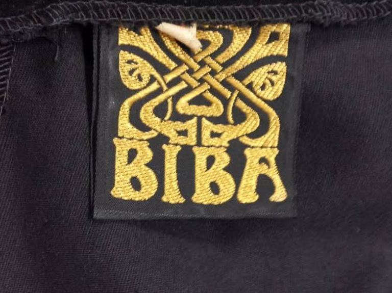Women's 1960s Biba Black Velvet Formal Mini Dress For Sale
