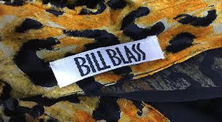 Women's 1980s Bill Blass Silk Burnout Yellow Leopard Print Dress with Mink Trim For Sale