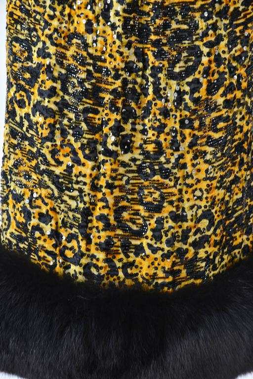 1980s Bill Blass Silk Burnout Yellow Leopard Print Dress with Mink Trim In Excellent Condition For Sale In Houston, TX
