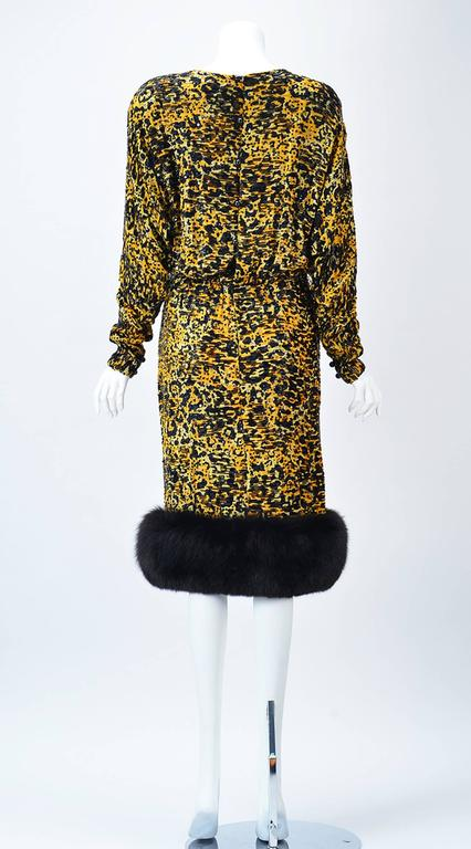 Black 1980s Bill Blass Silk Burnout Yellow Leopard Print Dress with Mink Trim For Sale