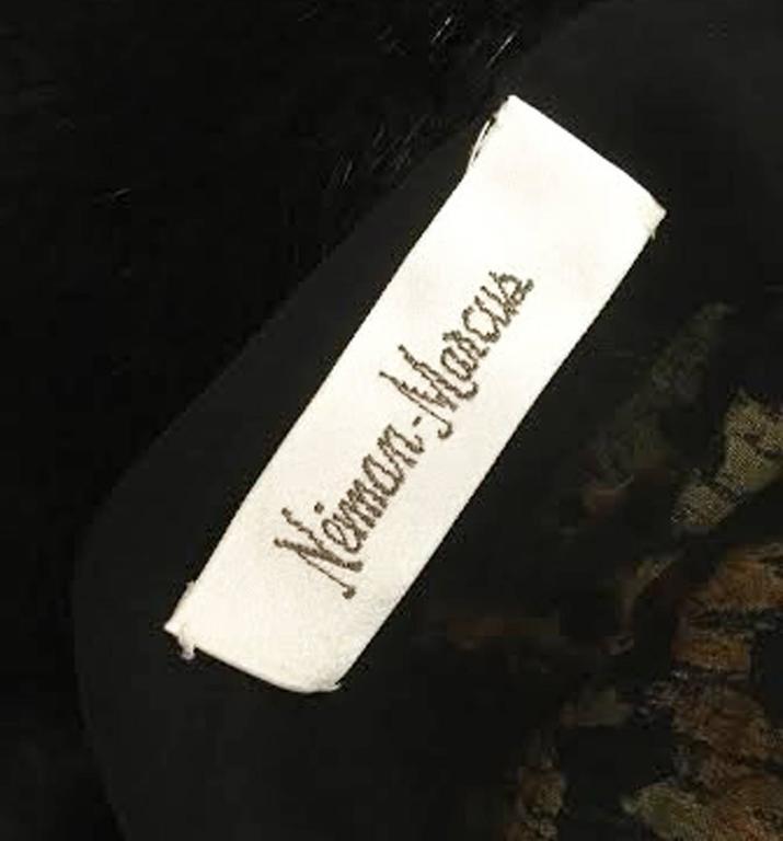 1980s Bill Blass Silk Burnout Yellow Leopard Print Dress with Mink Trim For Sale 1