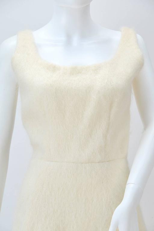 1990s Custom Winter White Mohair Dress In Good Condition For Sale In Houston, TX
