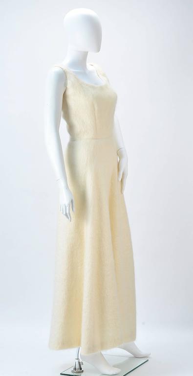 Beige 1990s Custom Winter White Mohair Dress For Sale