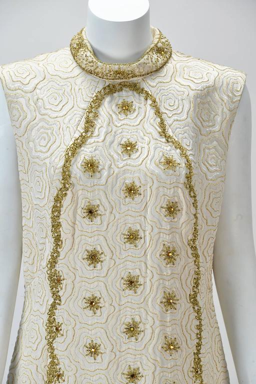Women's 1950s Bernetti Jaquard Maxi Dress with Gold Threadwork and Beading For Sale