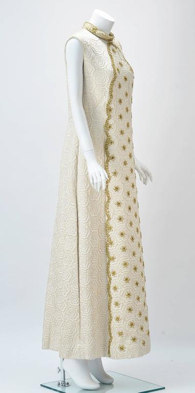 1950s Bernetti Jaquard Maxi Dress with Gold Threadwork and Beading 2