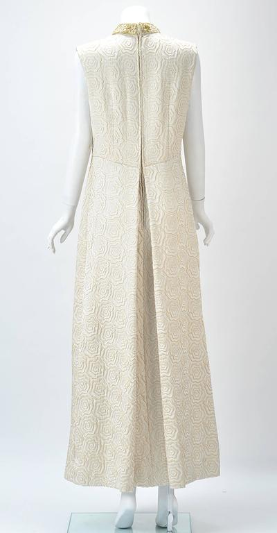 1950s Bernetti Jaquard Maxi Dress with Gold Threadwork and Beading In Good Condition For Sale In Houston, TX