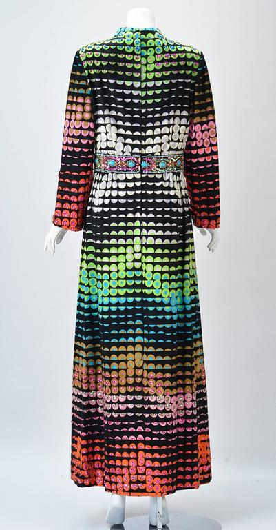 Black 1960s Valentina Colorful Pixelated Print Dress For Sale
