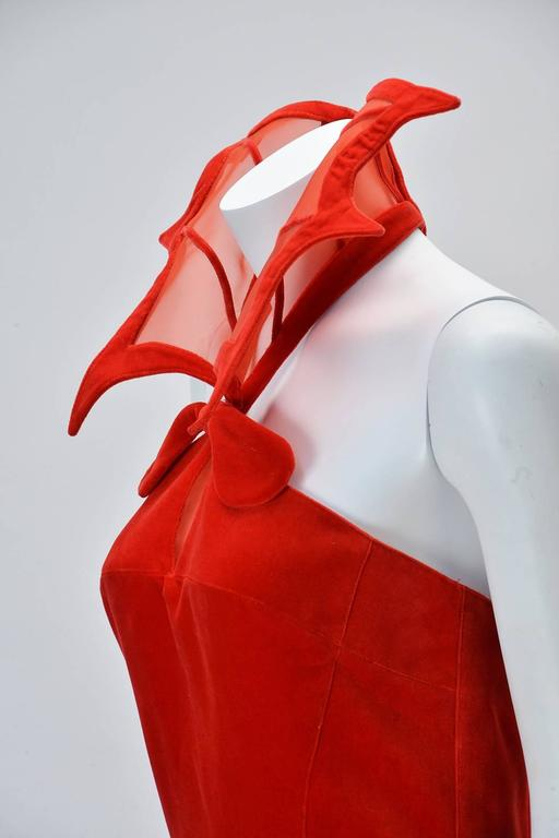 "Women's Rare 1980s Thierry Mugler Red Velvet Gown, ""The Kiss of the Spider-woman"" For Sale"