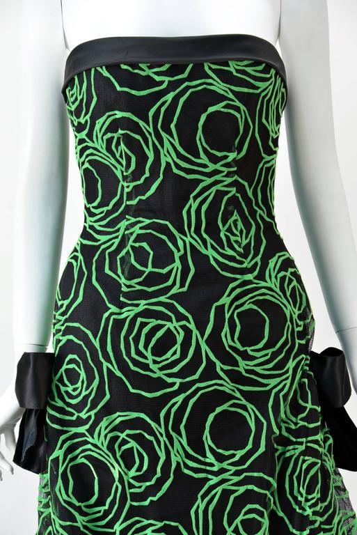 1980s Scaasi Strapless Neon Green Velvet on Black Net Evening Gown 4