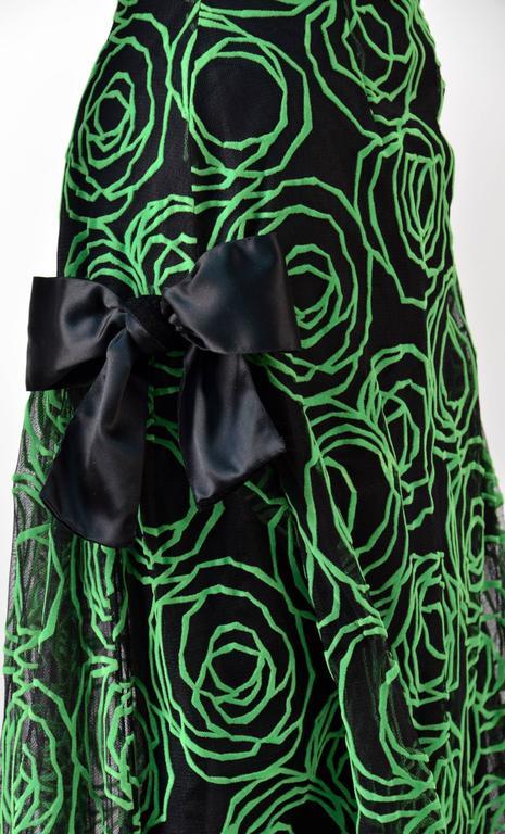 1980s Scaasi Strapless Neon Green Velvet on Black Net Evening Gown 5