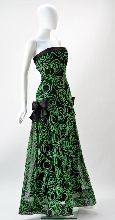 1980s Scaasi Strapless Neon Green Velvet on Black Net Evening Gown 2
