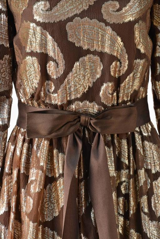Women's 1960s Cecil Chapman Brown and Gold Metallic Paisley Dress For Sale