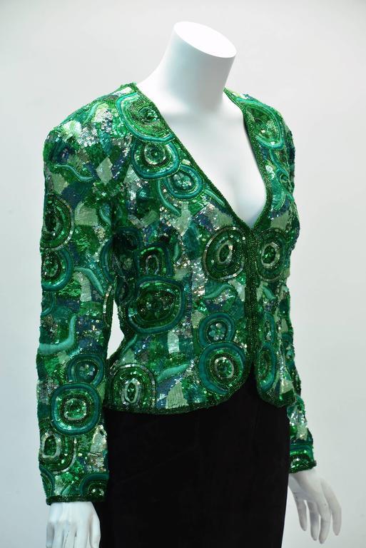 1980s Naeem Khan Green Pure Silk Sequined Jacket 2