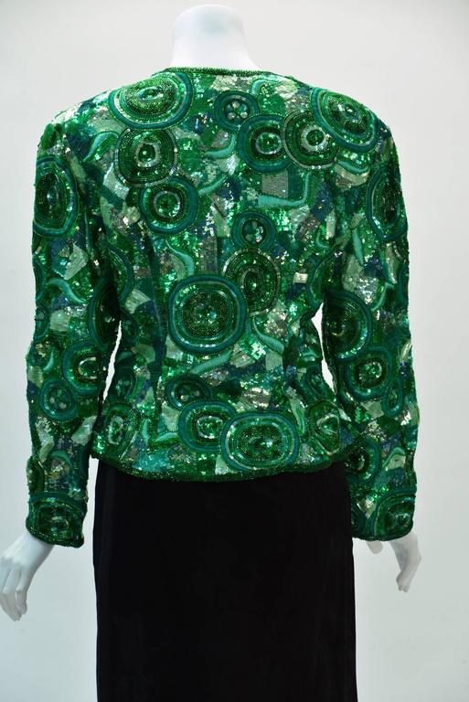 Blue 1980s Naeem Khan Green Pure Silk Sequined Jacket For Sale