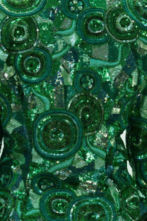 1980s Naeem Khan Green Pure Silk Sequined Jacket 5