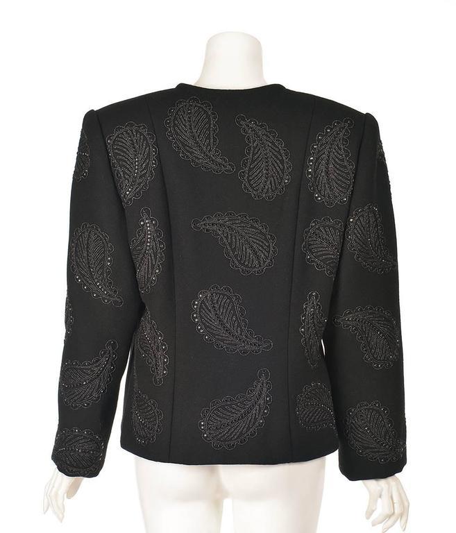 1960s Galanos Black Wool Paisley Beaded Jacket 5