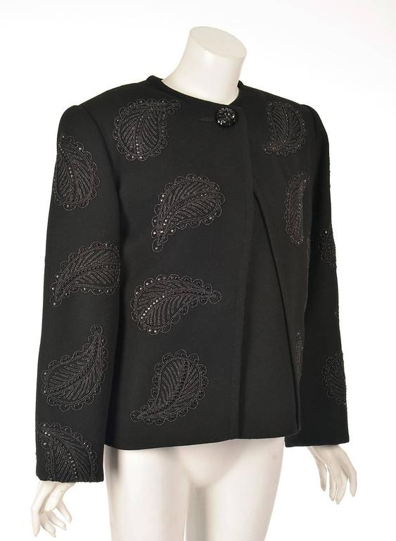 1960s Galanos Black Wool Paisley Beaded Jacket 2