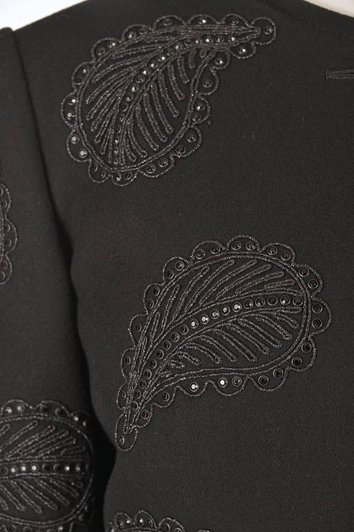 1960s Galanos Black Wool Paisley Beaded Jacket 3