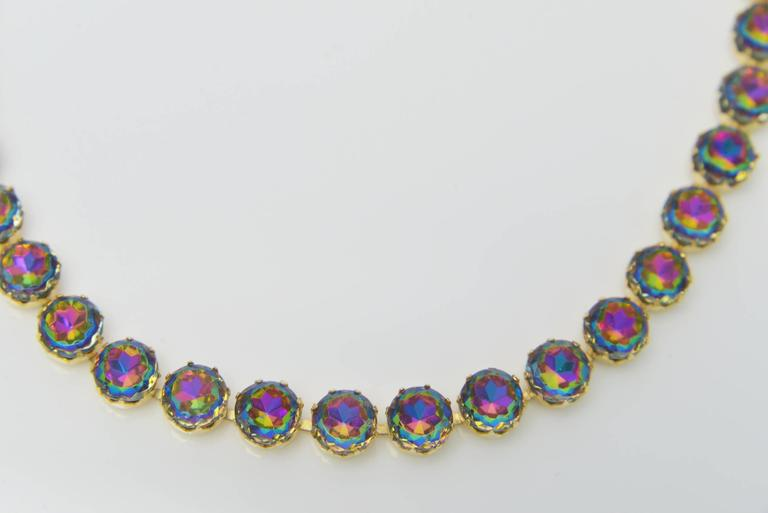 1950s Elsa Schiaparelli Watermelon Rhinestone Parure In Excellent Condition For Sale In Houston, TX