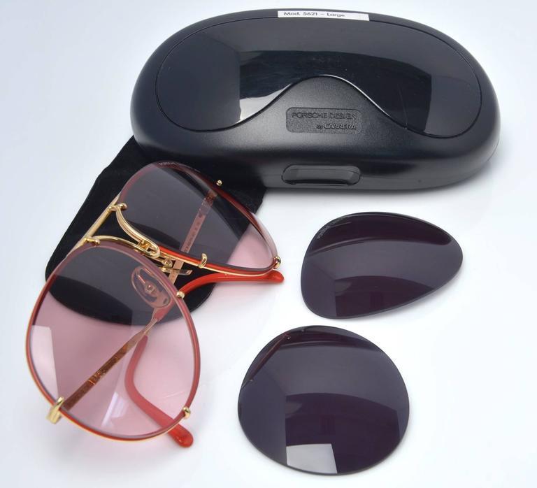 New 1980s Porsche Design By Carrera Red Aviator Sunglasses