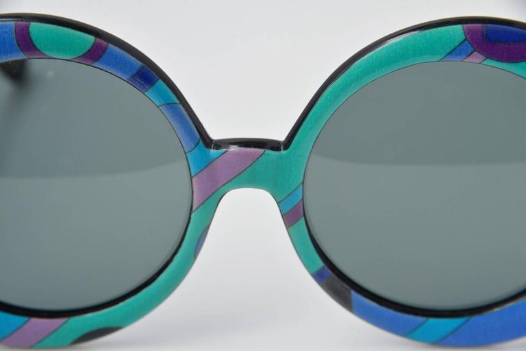 Blue Emilio Pucci Multicolored Mod Round Sunglasses, 1960s  For Sale