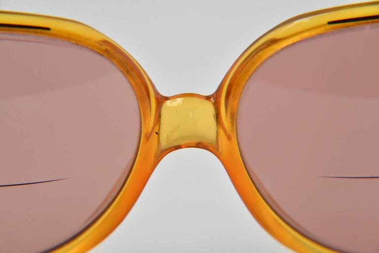 Brown 1970s Christian Dior Optyl Round Honey Sunglasses Frame Number 2035 For Sale
