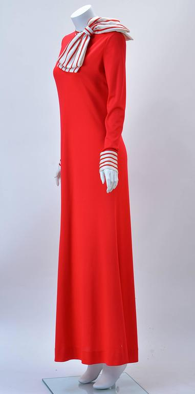 Fabulous red knit maxi dress with white and red large bow is a sumptuous  AND conservative beauty, but it is also amazingly comfortable! 