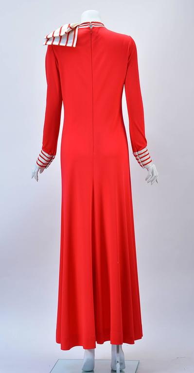 1970s Malcolm Star Red Knit Maxi Dress  In Good Condition For Sale In Houston, TX