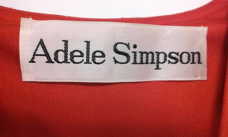 1970s Adele Simpson Red Knit Kaftan  For Sale 2