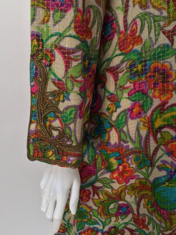 Women's Floral Multi-Colored Embroidered Kaftan OS, 1970s   For Sale