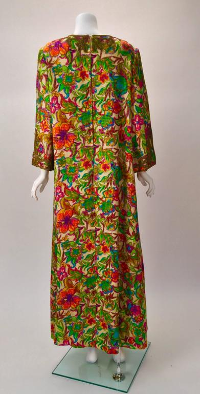 Brown Floral Multi-Colored Embroidered Kaftan OS, 1970s   For Sale