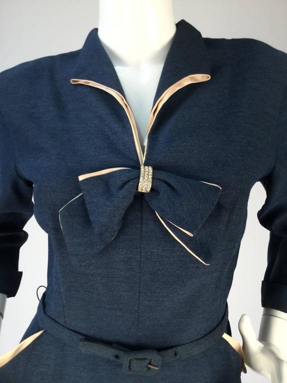 1940s Mar Tee Original Cadet Blue Dress  2