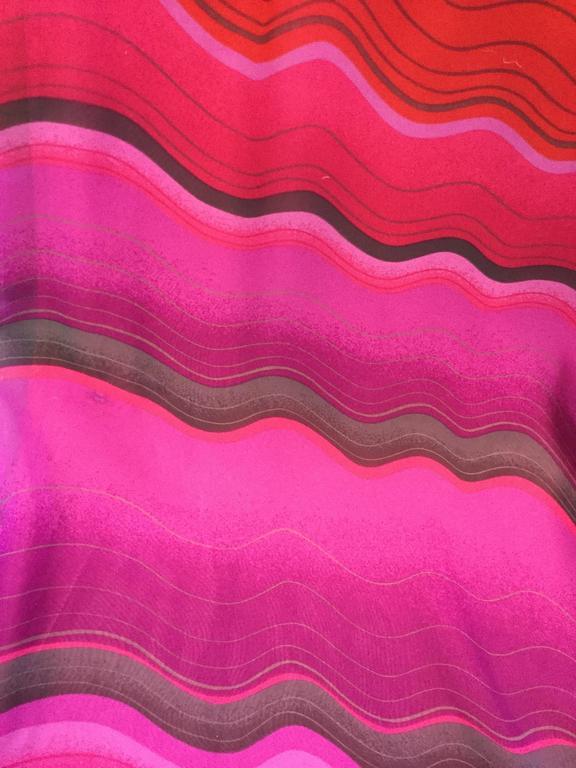 1980s Hanae Mori Silk Sunset Colored Kimono Sleeve Dress  7