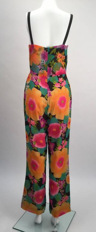 Women's 1960s Pat Sandler Floral Jumpsuit and Overdress  For Sale