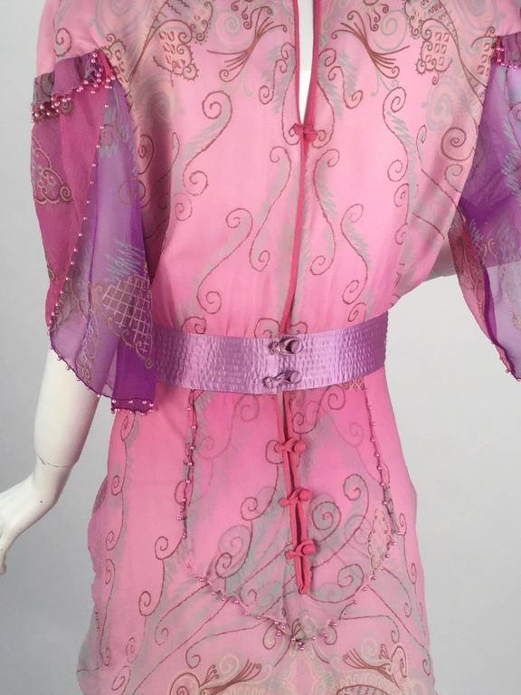 1970s Zandra Rhodes Pink Sik Screened Silk Evening Gown  5