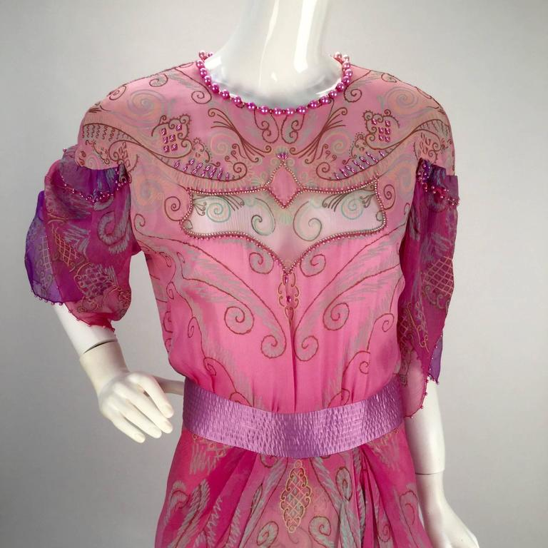 1970s Zandra Rhodes Pink Sik Screened Silk Evening Gown  4