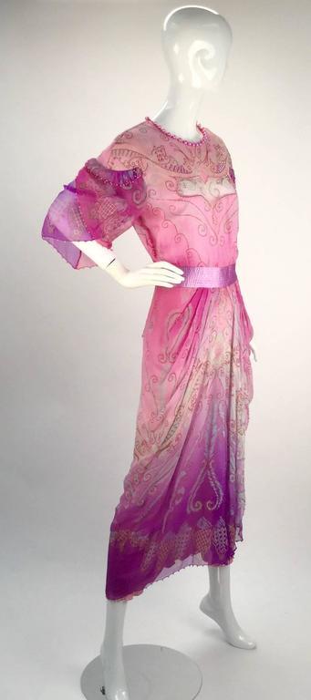1970s Zandra Rhodes Pink Sik Screened Silk Evening Gown  2