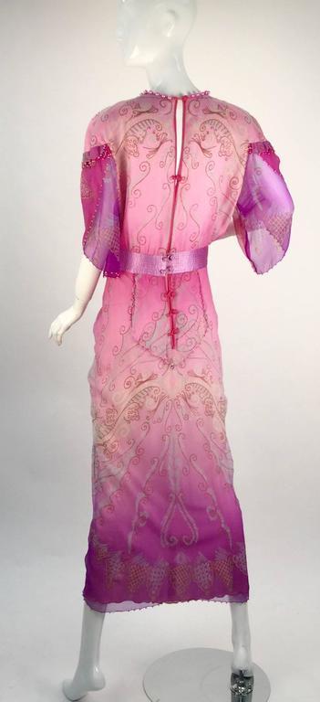 1970s Zandra Rhodes Pink Sik Screened Silk Evening Gown  3