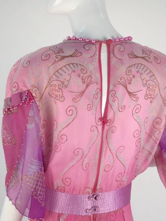 1970s Zandra Rhodes Pink Sik Screened Silk Evening Gown  6