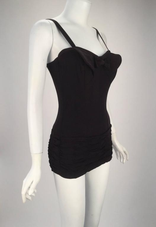1950s Maurice Handler Black One Piece Bathing Suit 2