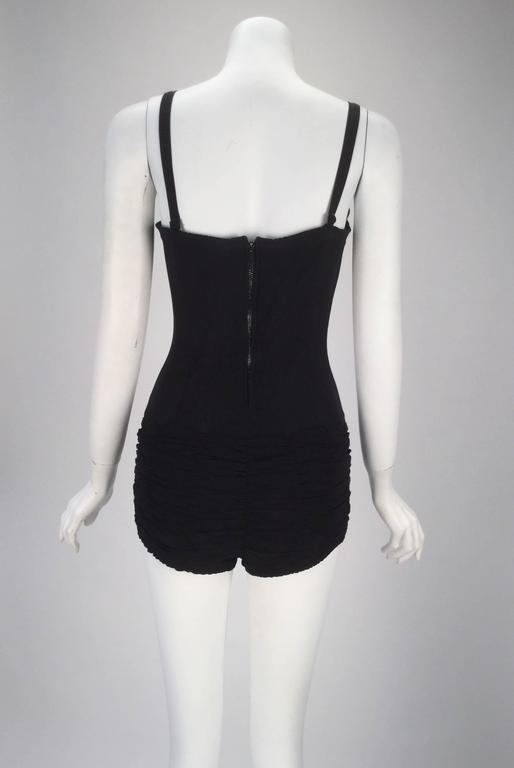 1950s Maurice Handler Black One Piece Bathing Suit 3