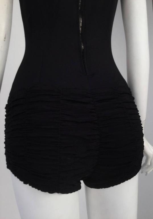 1950s Maurice Handler Black One Piece Bathing Suit 4